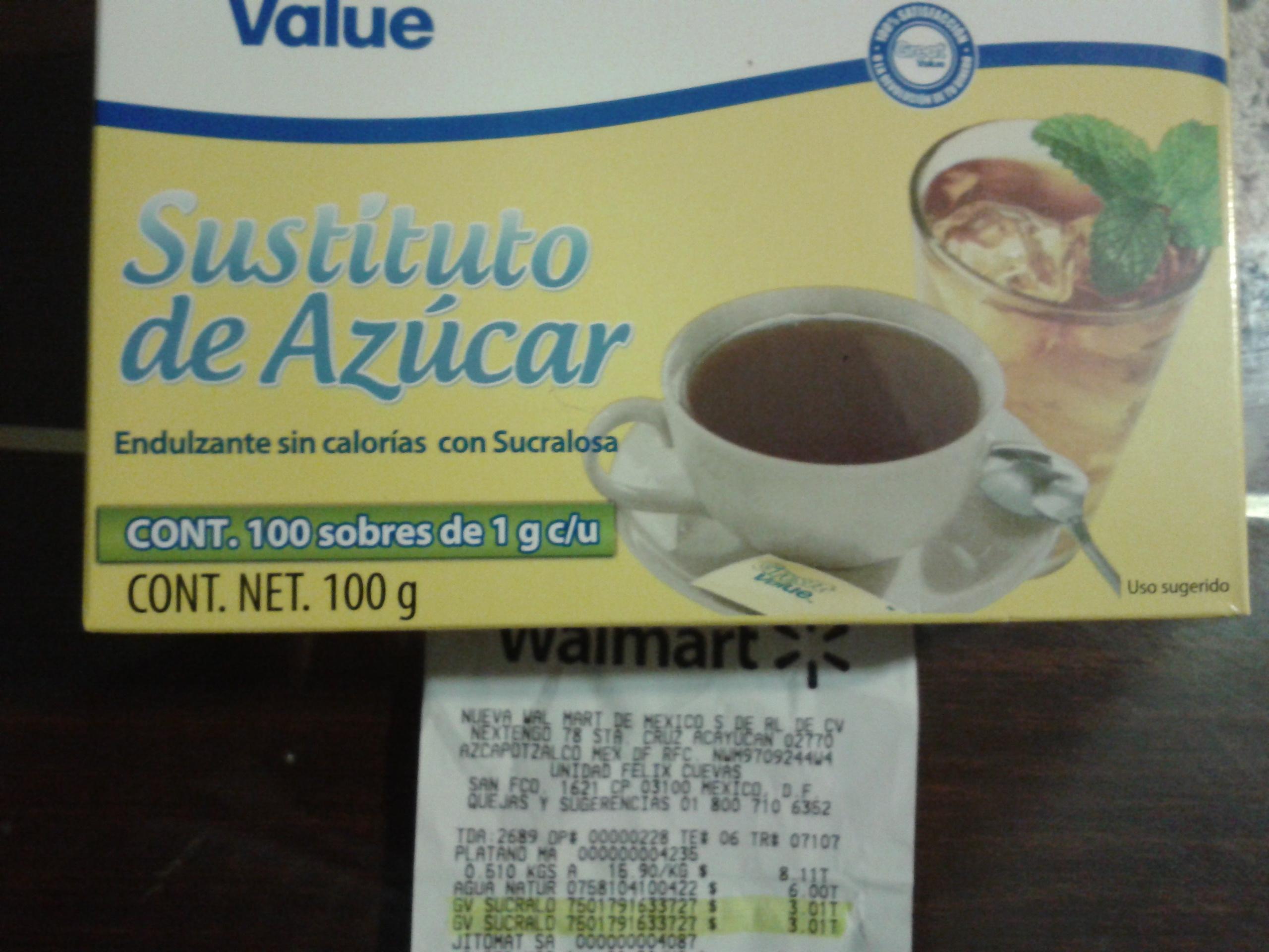 Walmart: sustituto de azúcar 100 sobres $3.01