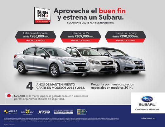 Ofertas del Buen Fin 2013 en Subaru y Peugeot