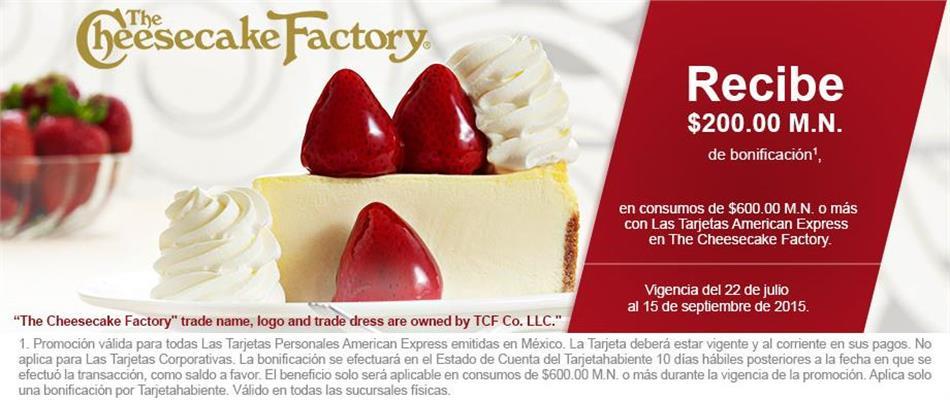 $200 de bonificación en Cheesecake Factory gastando $600 con American Express