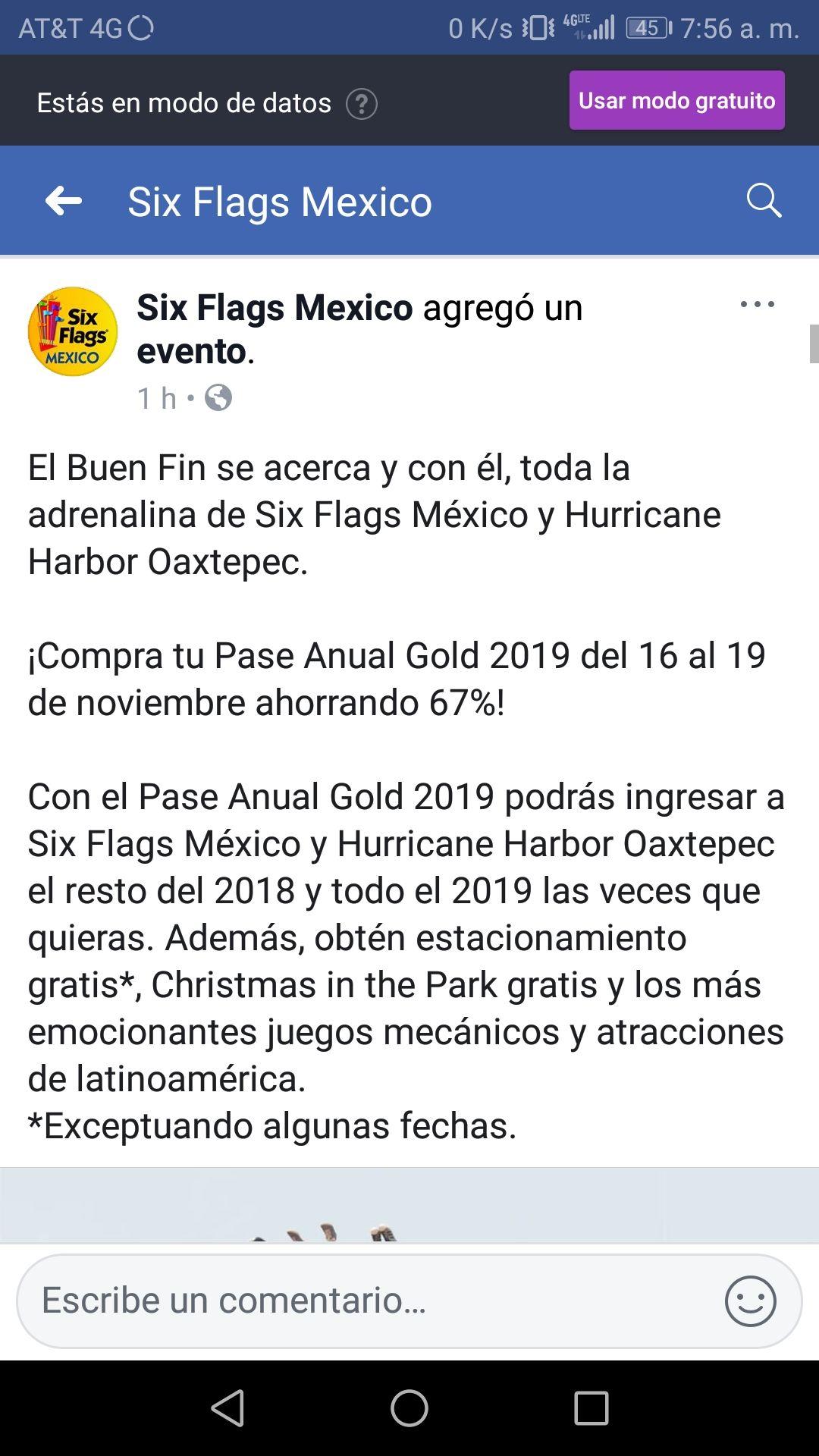 Buen Fin 2018 en Six Flags: Pase Anual Gold 2019 con más del 67% de descuento