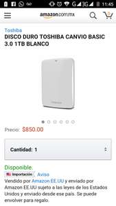 Amazon: disco duro toshiba canvio 1tb