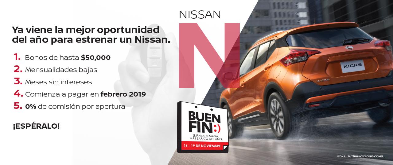 Buen fin 2018 en NISSAN: Bonos de hasta $50,000 pesos, 0% de comisión por apertura y más