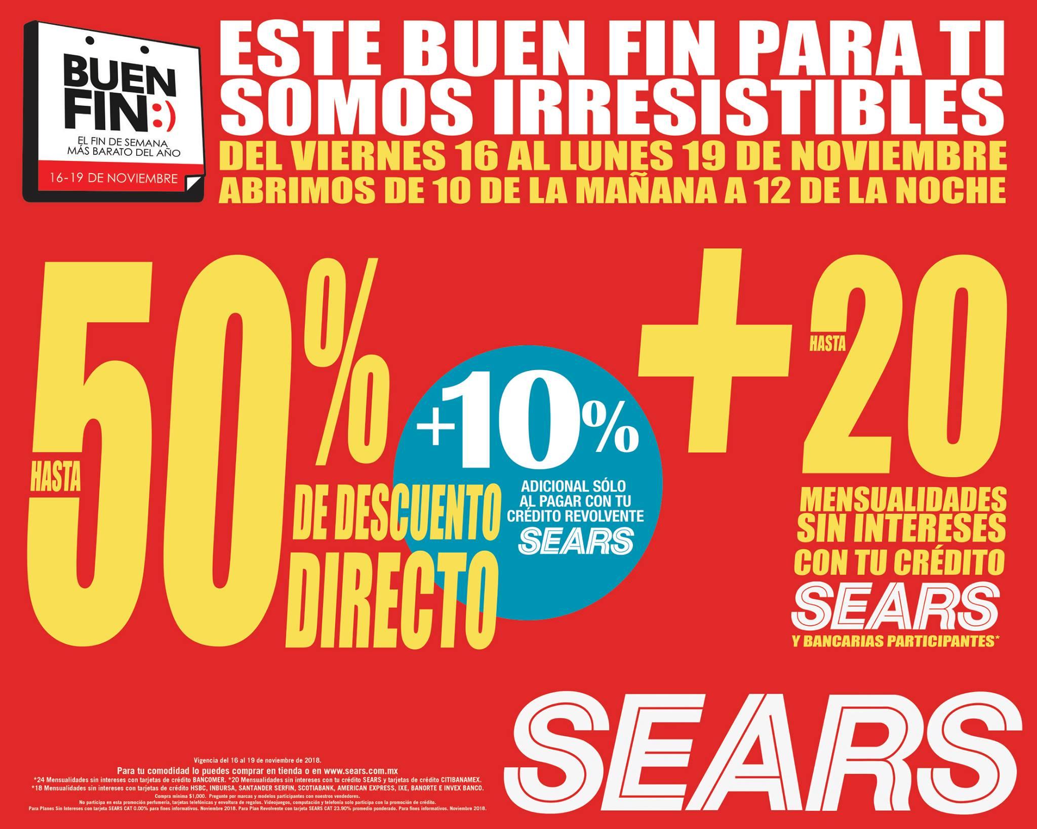 Ofertas El Buen Fin 2018 en Sears: hasta 50% de descuento y hasta 20 MSI