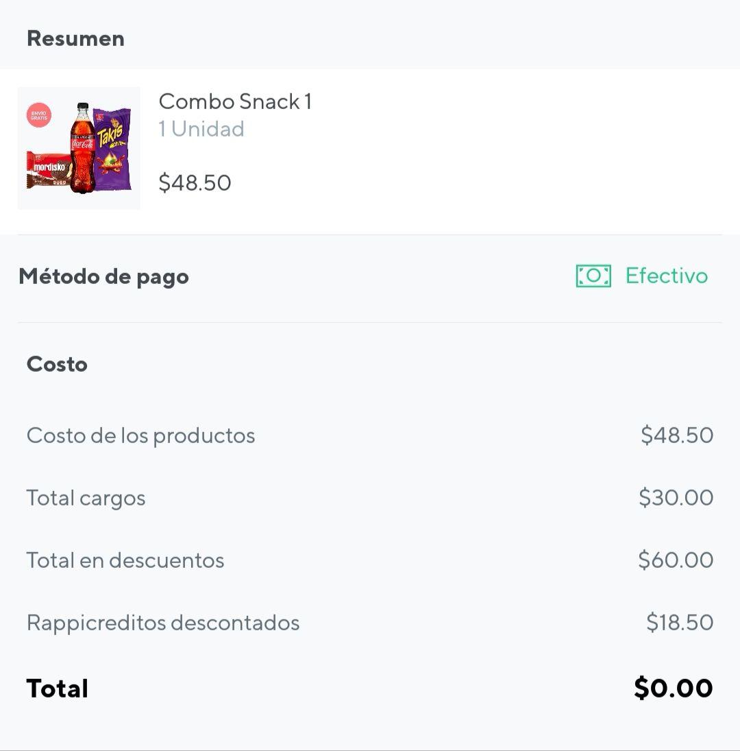 Rappi: Combo Snack $18.50 Envío gratis del 7 Eleven