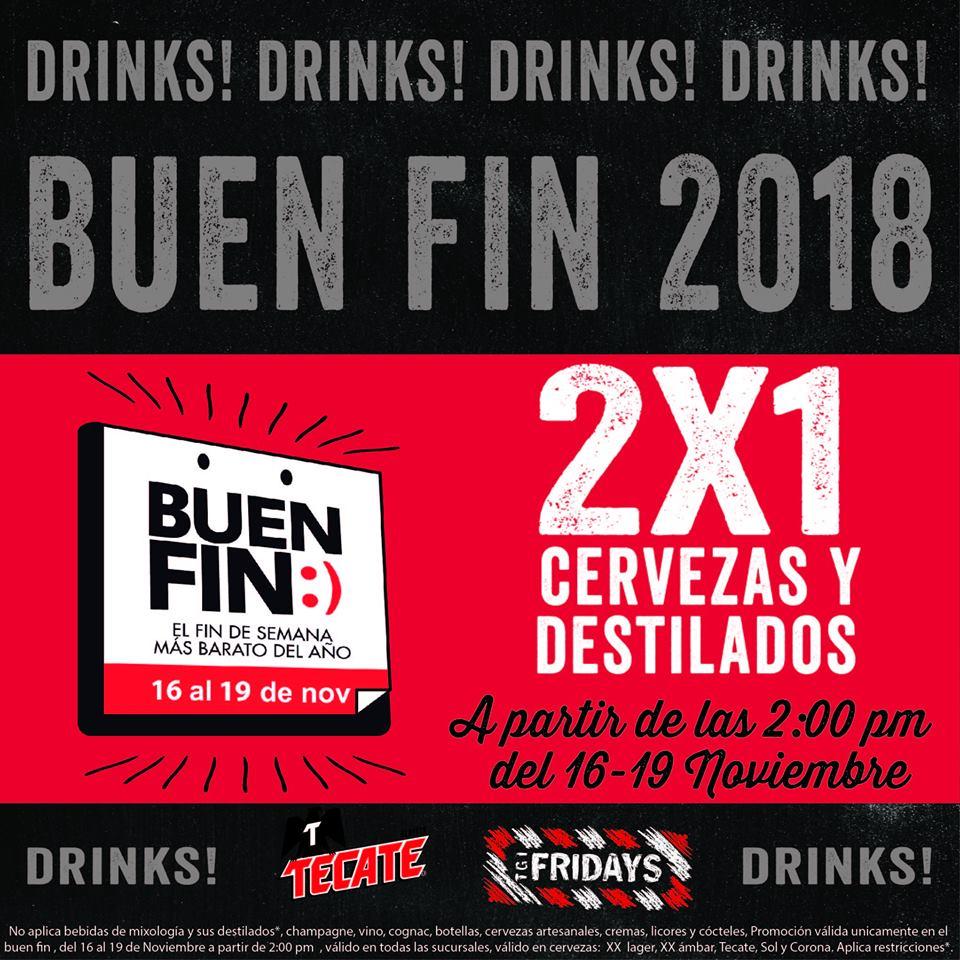 TGI Friday's promoción El Buen Fin 2018: 2x1 en cervezas y destilados