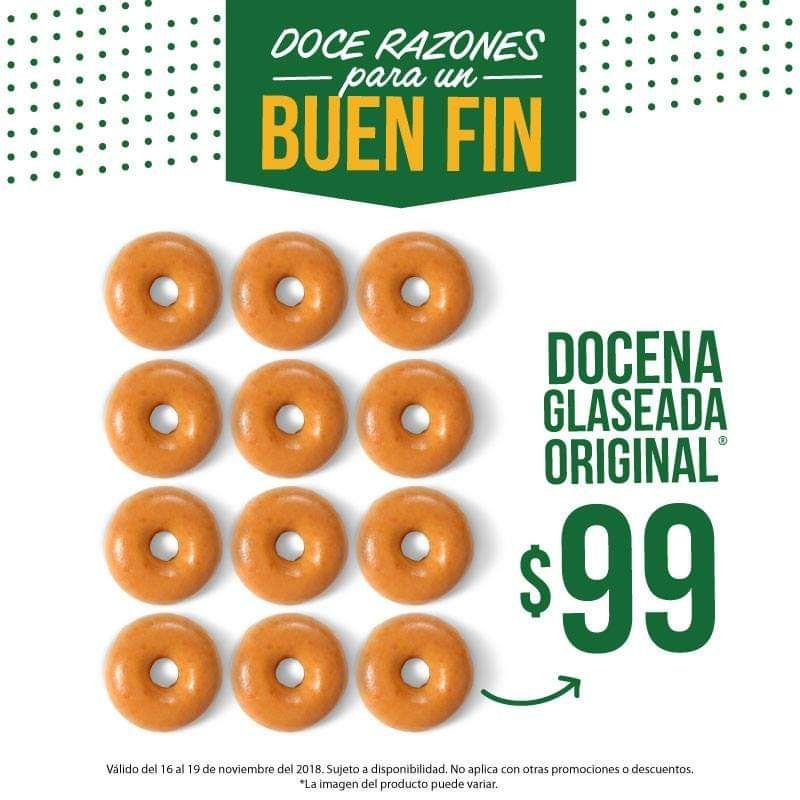 Buen Fin 2018 en Krispy Kreme: Docena Glaseada original $99