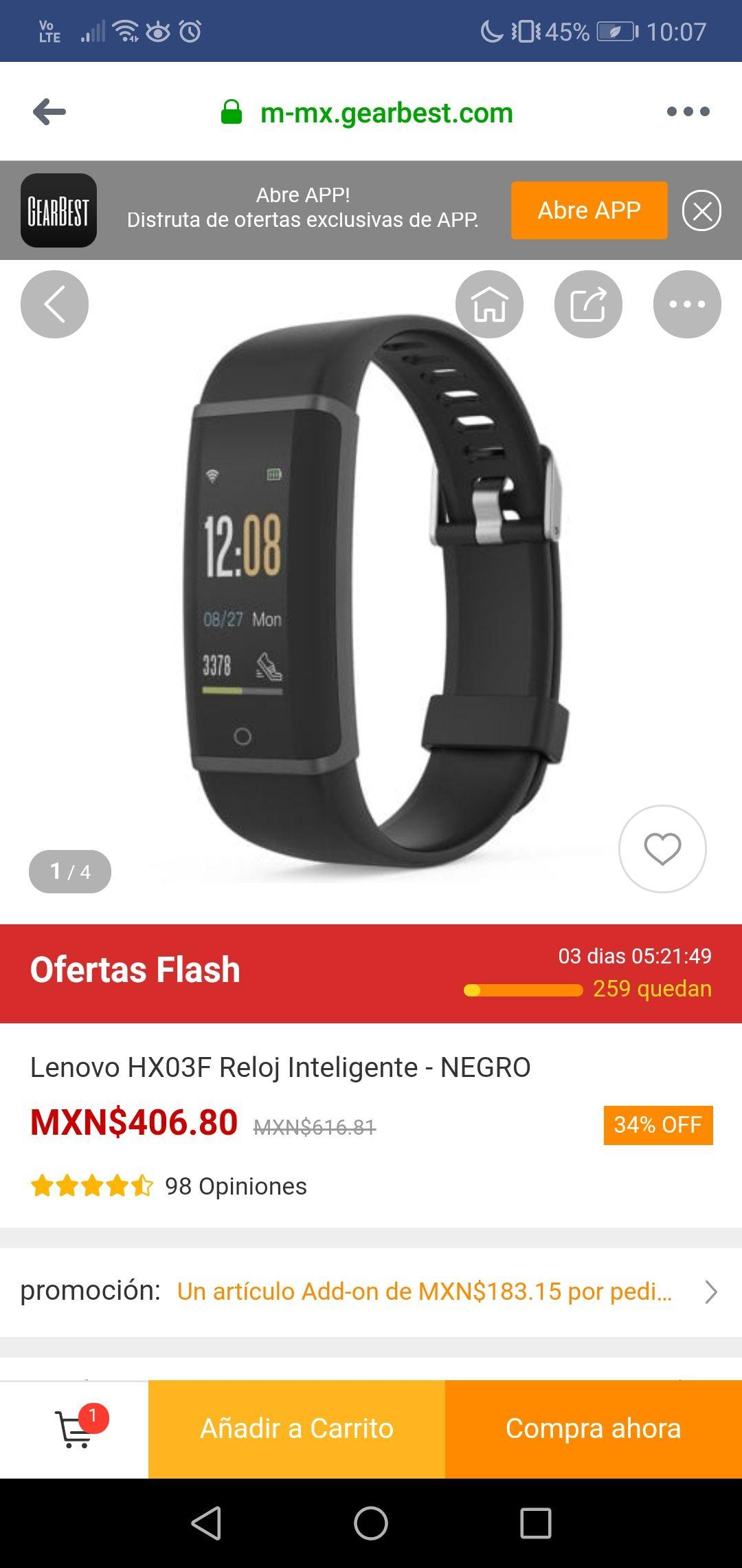 Gearbest:  Smartwatch lenovo hx03f