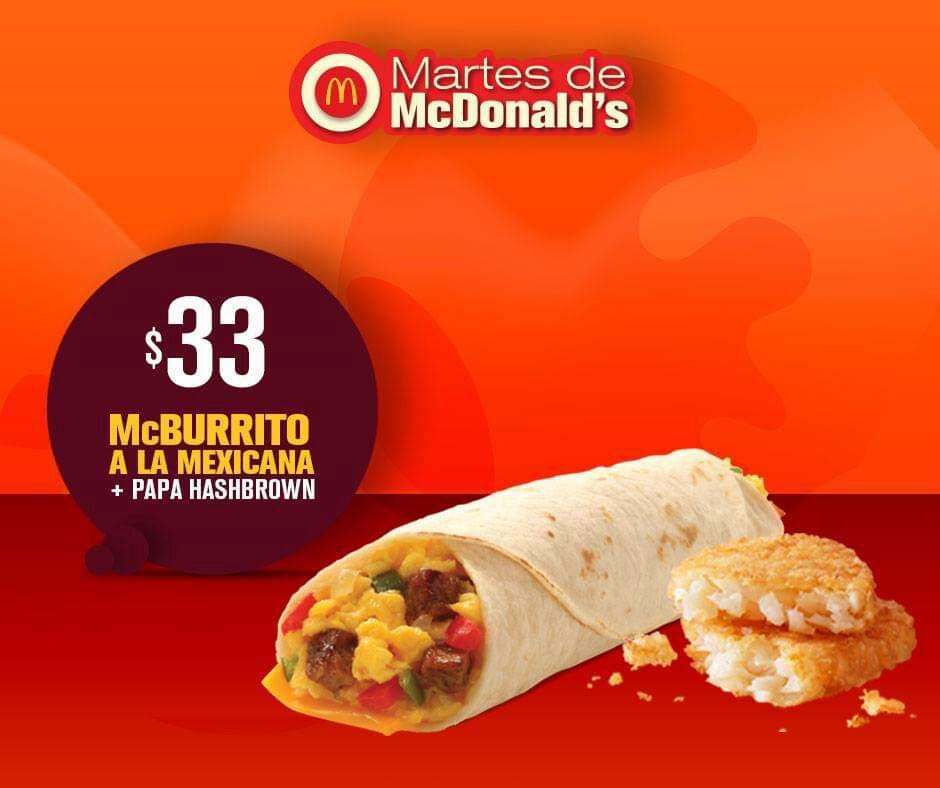 McDonald's: Martes de McDonald's 13 Noviembre: McBurrito + Papa Hashbrown $33