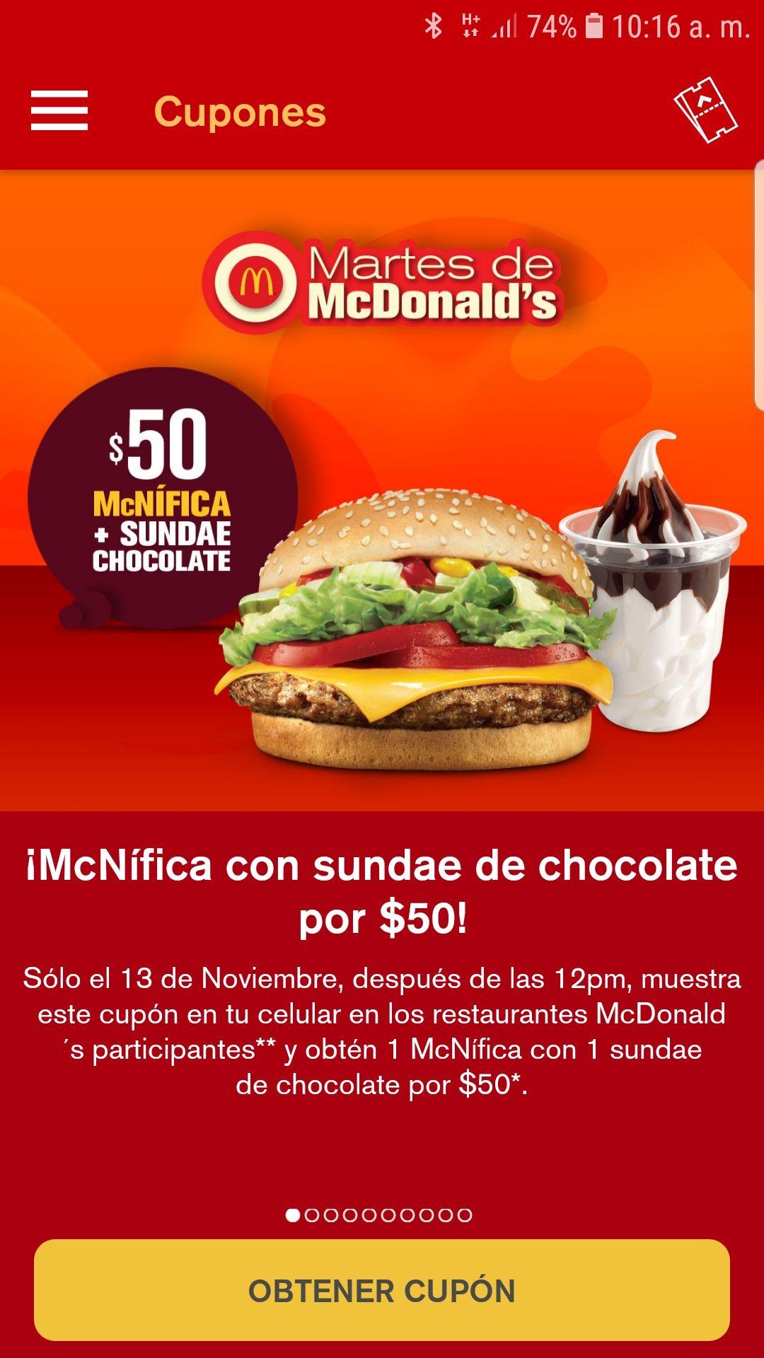 McDonald's: martes de haburguesas, Una hamburguesa magnífica con nieve por $50.00