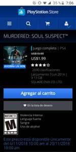 PlayStation Store: MURDERED SOUL SUSPECT