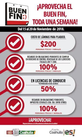 Buen Fin 2018 Secretaría de Finanzas Coahuila: 50% de descuento en Licencias de Manejo