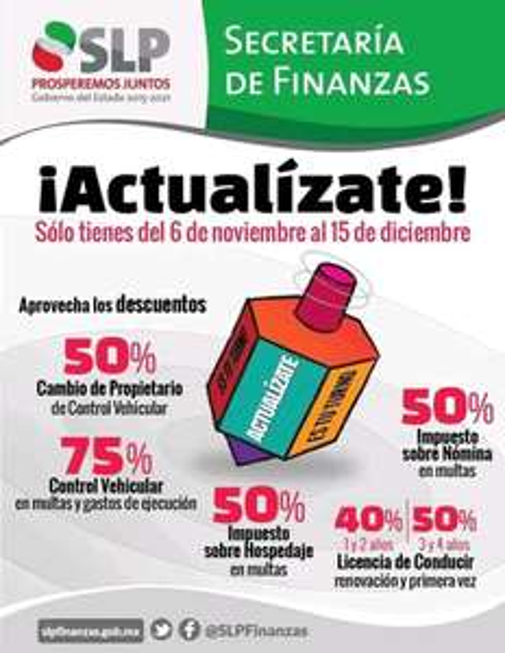 Secretaria de Finanzas San Luis Potosí: Programa de descuentos ¡Actualízate!