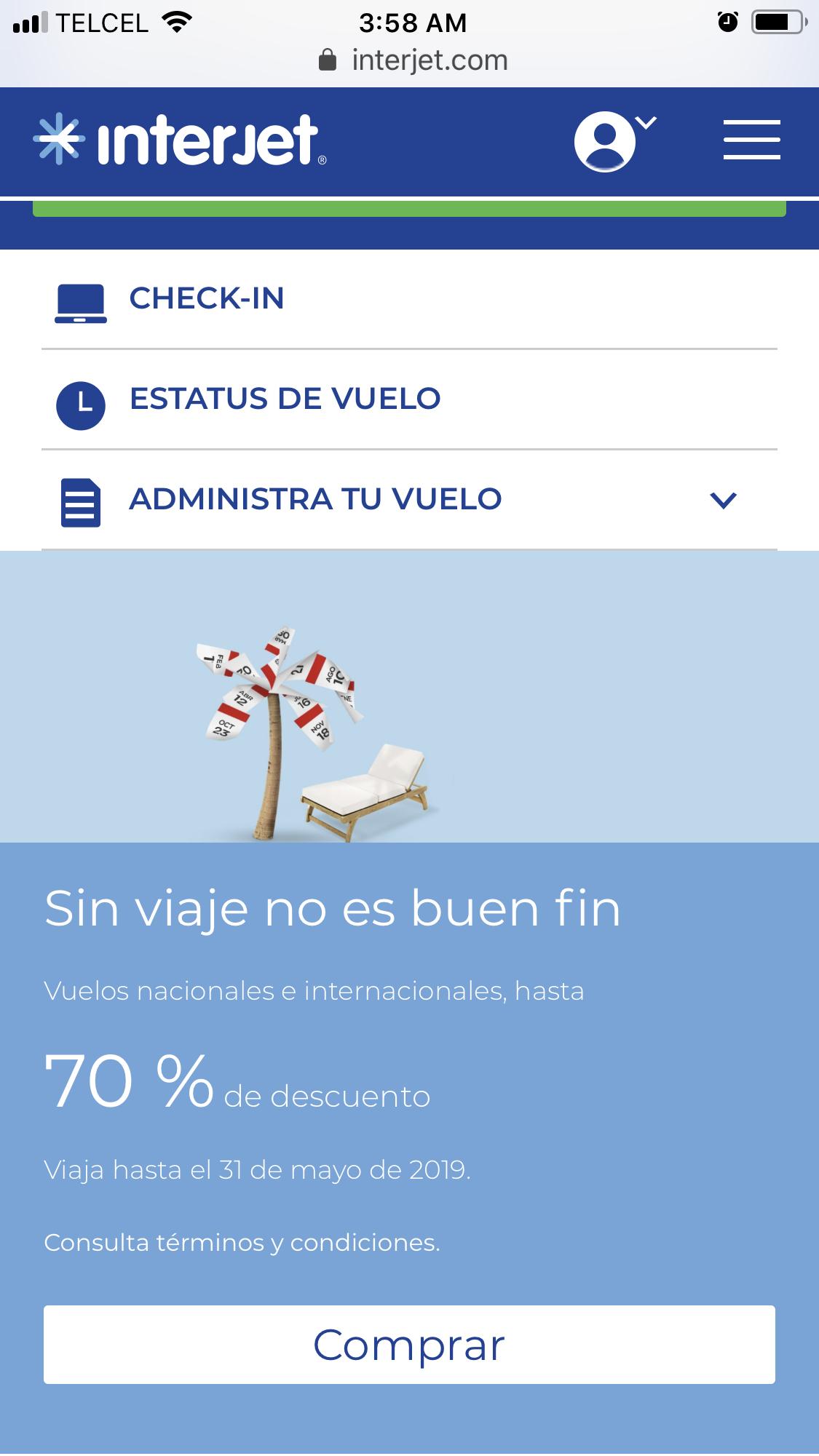 Promociones El Buen Fin 2018 Interjet: Hasta 70% descuento