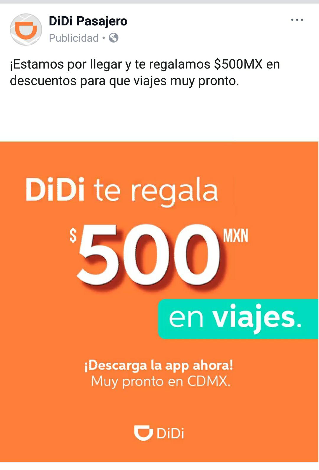 Didi CDMX: $500 en cupones en su próxima llegada a CDMX al registrarse en su app