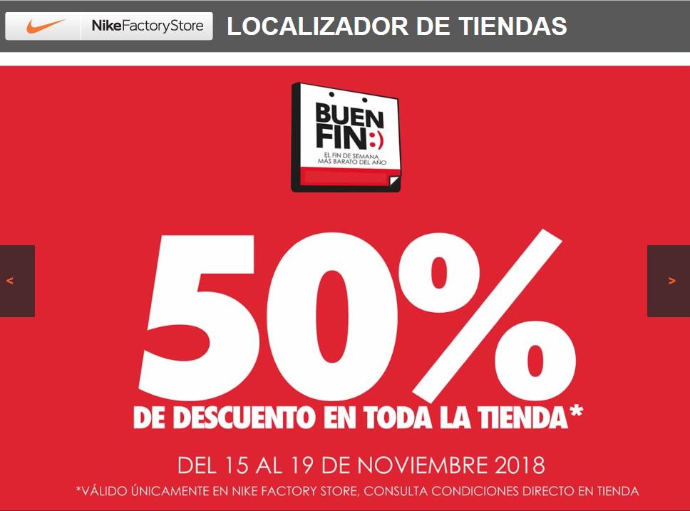 Ofertas Buen Fin 2018 Nike Factory Stores: 50% + 10% y MSI pagando con Banamex