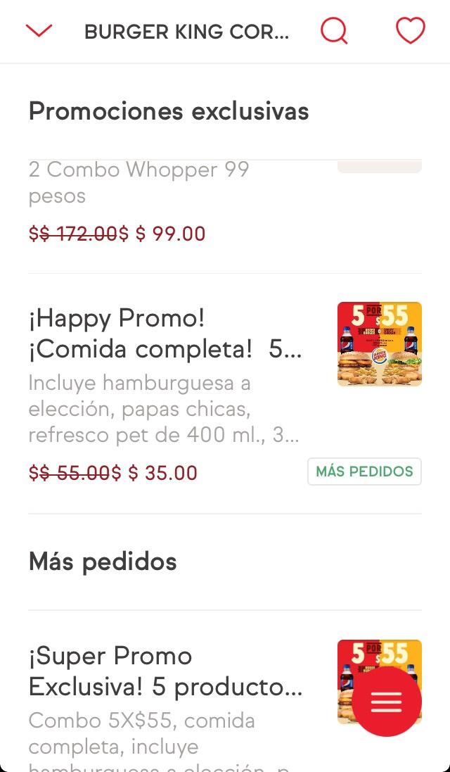Sin Delantal: Burger King 5 productos por $35