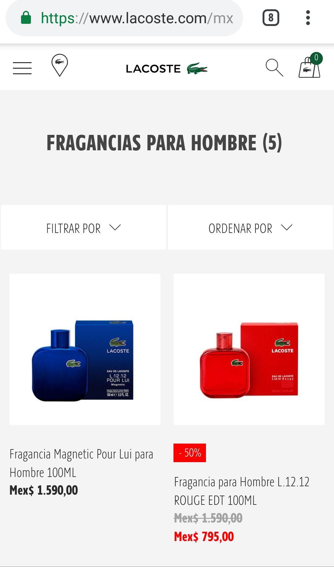 Lacoste: Descuento perfume lacoste rojo