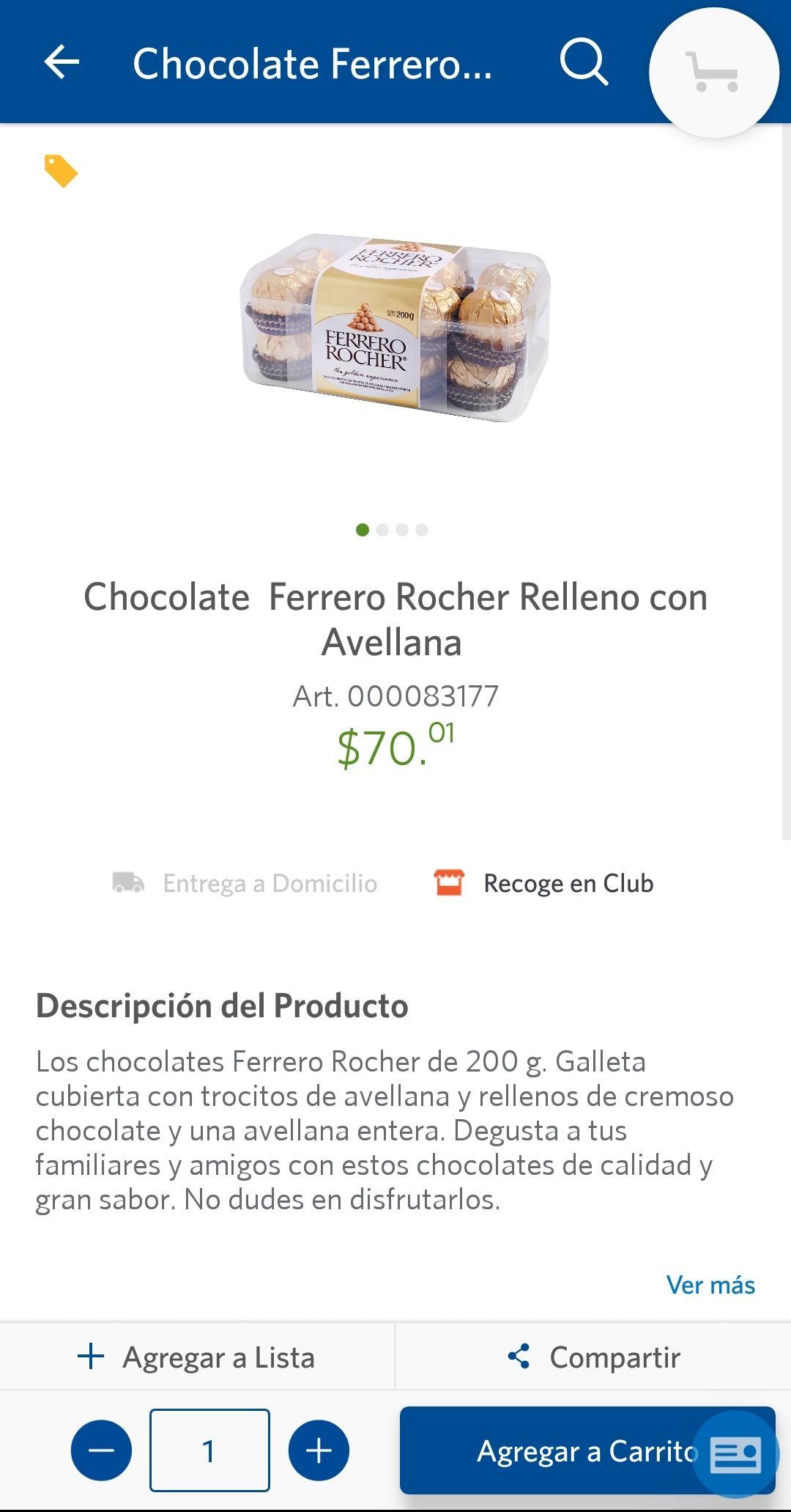 Sam's Club: Ferrero de $94.00 a $64.00