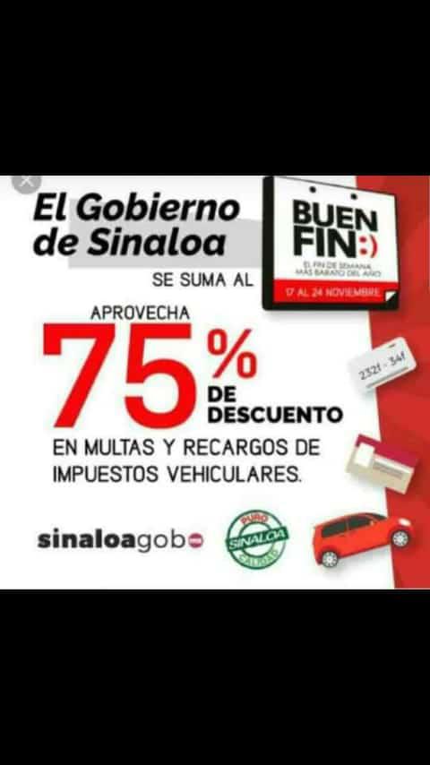 Buen Fin 2018 Gobierno de Sinaloa 75% de Descuento en multas y recargos en tramites vehiculares