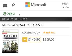 Microsoft store: Metal Gear Solid 2 & 3 HD con Live Gold