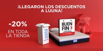Colchones Luuna ofertas El Buen Fin: 20% de descuento en toda la tienda + descuento extra + cupón