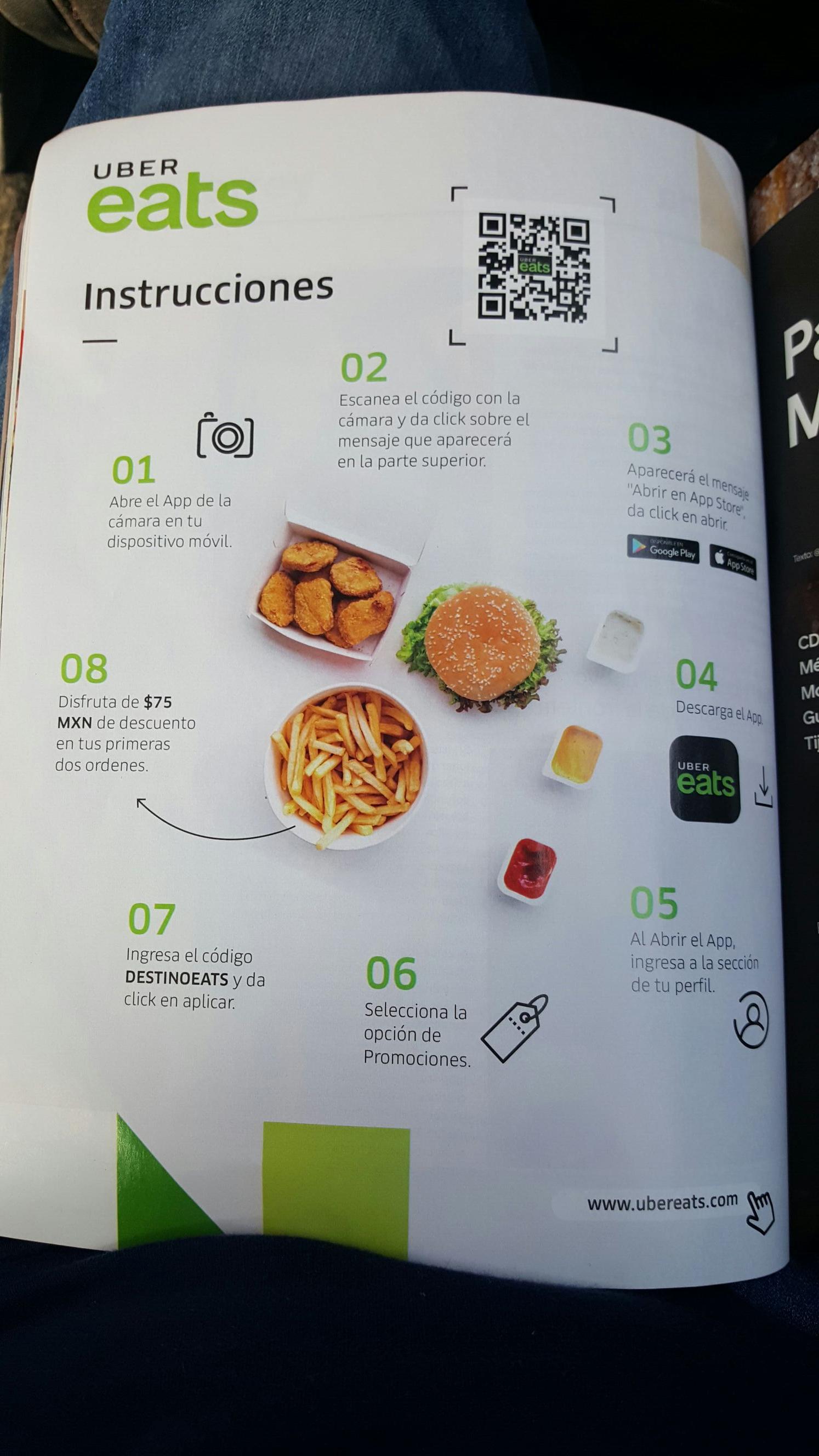 Uber Eats: $75 MXN de descuento en 4 ordenes. Usuarios viejos y nuevos.