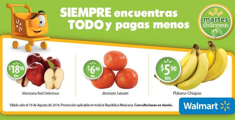 Martes de frescura en Walmart agosto 19: plátano $5.90 el kilo y más