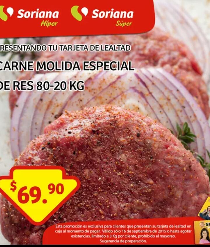 "SORIANA carne molida ""especial"" de res 80-20"