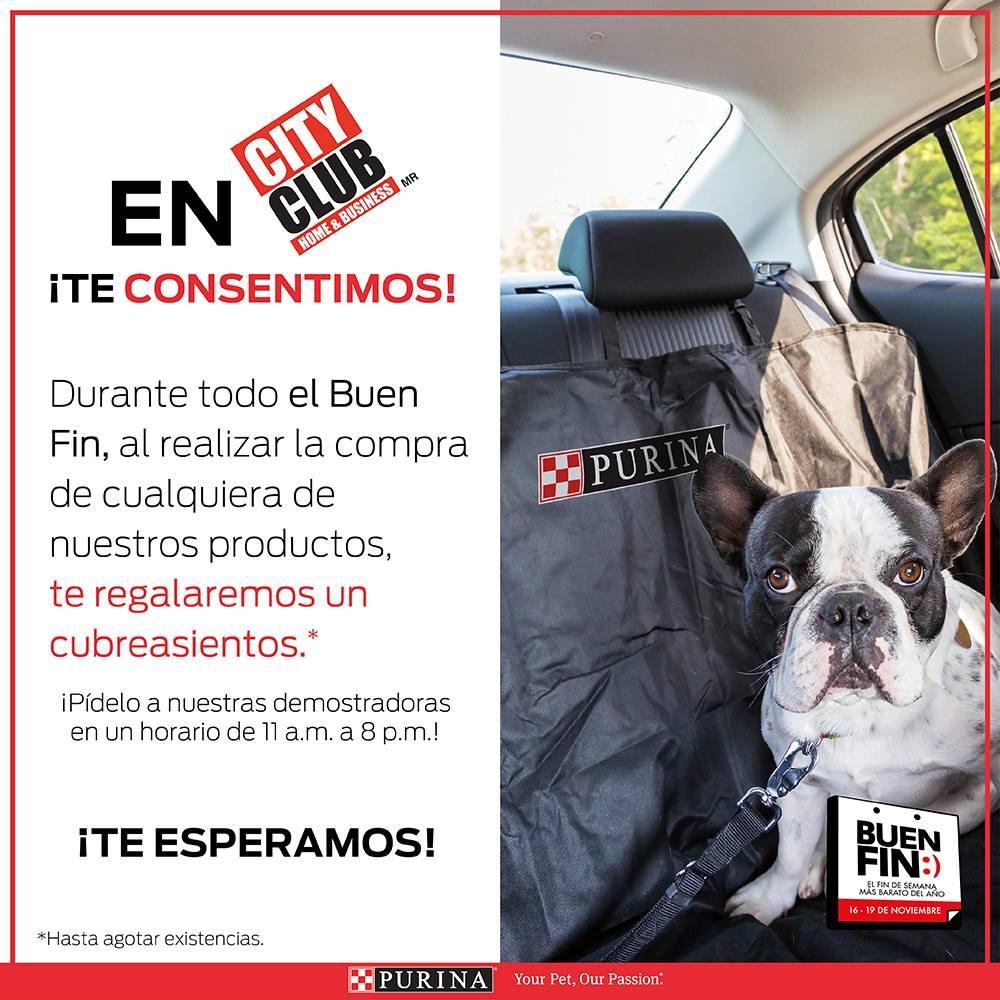 Buen Fin 2018 en City Club: Cubreasientos para tu perro gratis comprando productos purina