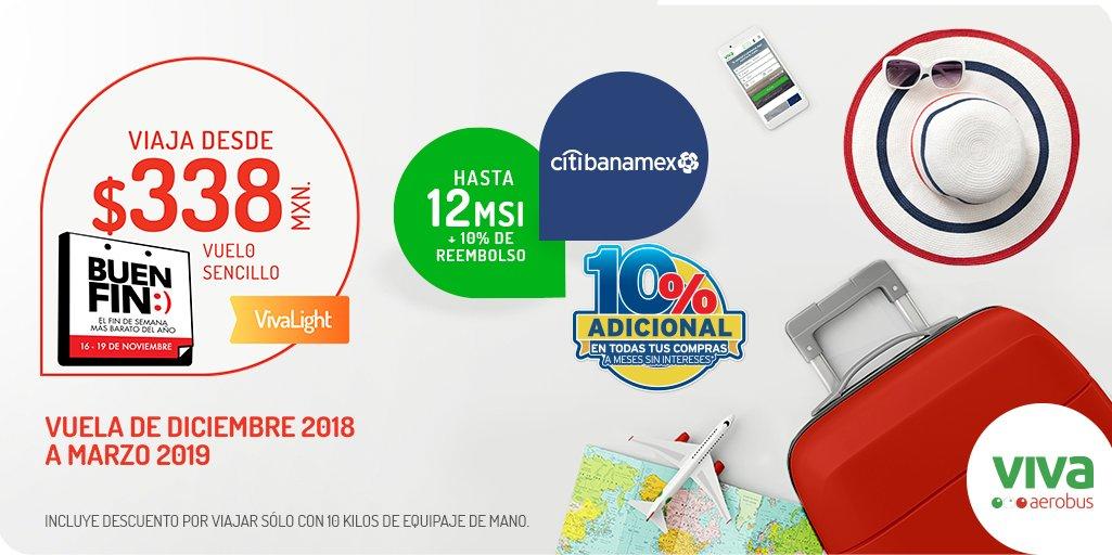 Buen fin 2018 VivaAerobus: Vuela desde $338 pesos + MSI + Bonificaciones