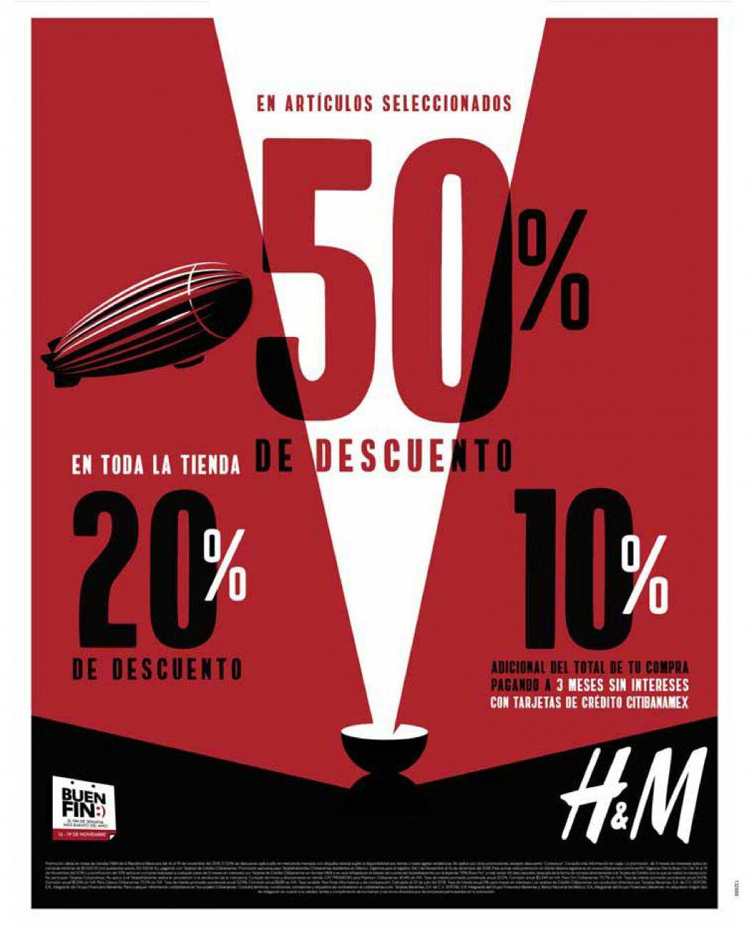 Buen Fin 2018 en H&M: 20% de desc. en toda la tienda... 50% de desc. en artículos seleccionados... 10% adicional a 3 MSI con CitiBanamex