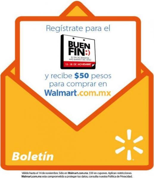 $50 de crédito para El Buen Fin al registrar correo en Walmart online