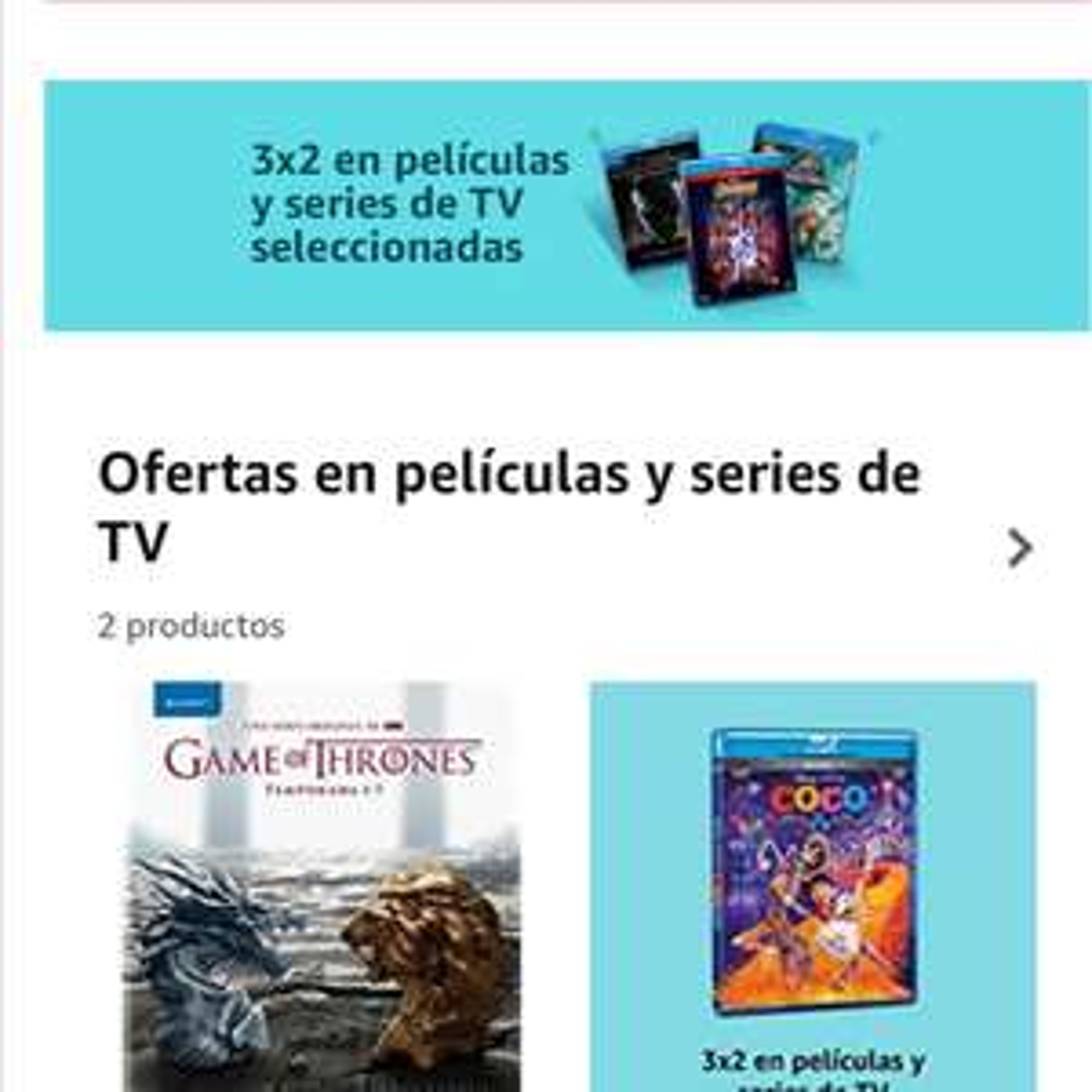 Amazon: 3x2 en películas y series.