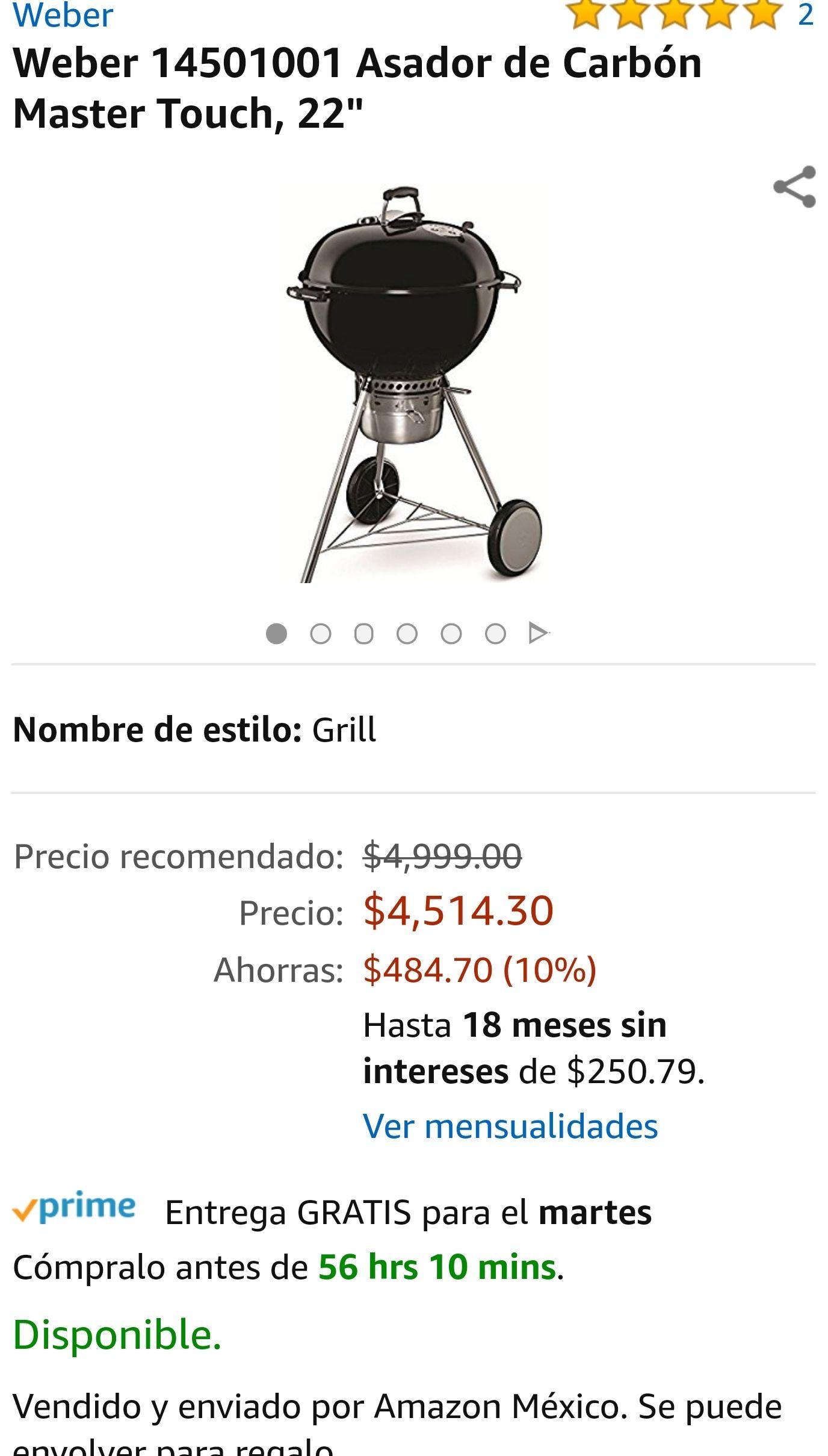 Amazon: Asador  Weber master touch (con MSI BANAMEX)