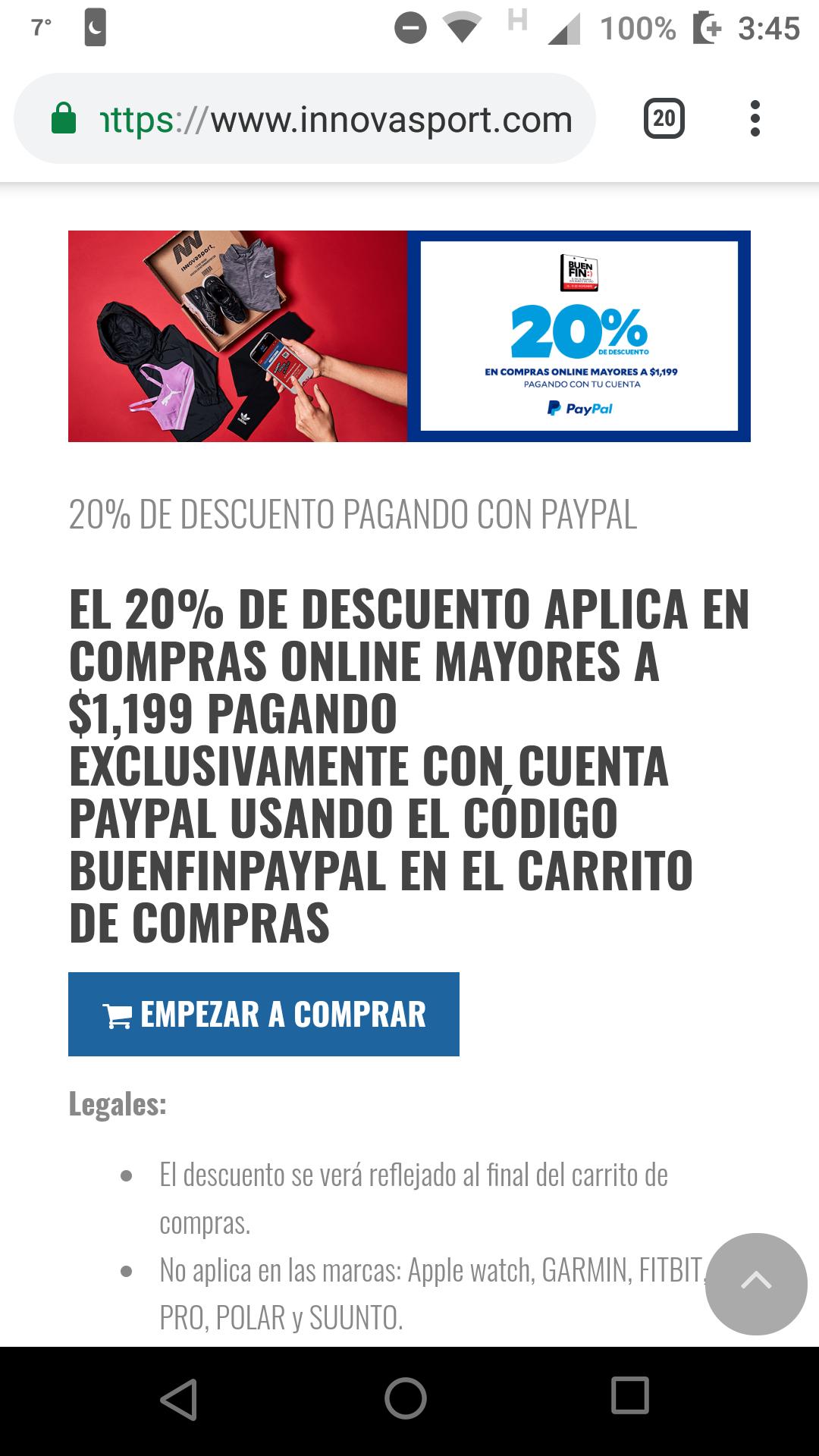 Innovasport: Descuento sobre DESCUENTo sobre descuento pares de tenis a menos de $400 pagando con PayPal