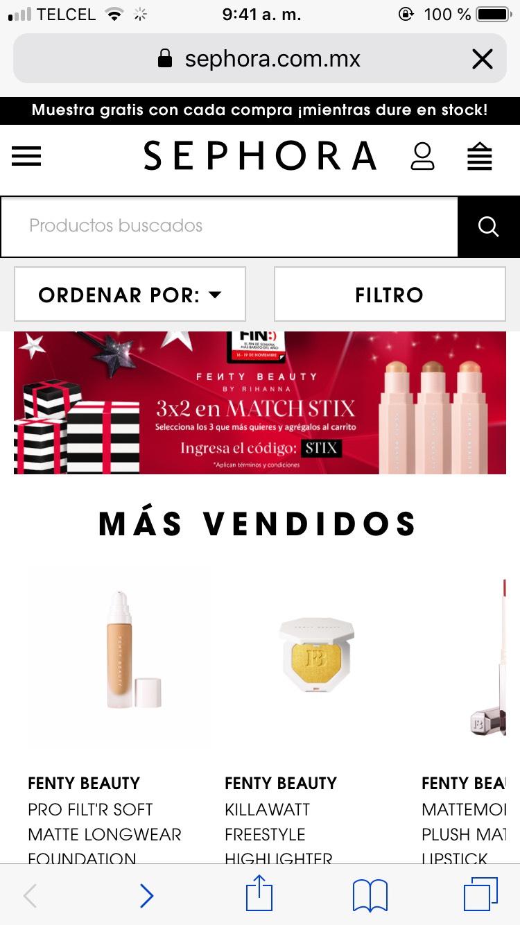 Ofertas Buen Fin 2018 Sephora: 3x2 en match stix Matte (Sephora)