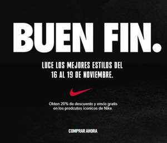 Ofertas Buen Fin 2018 Nike MX: Descuento del 20% en artículos seleccionados + envío gratis