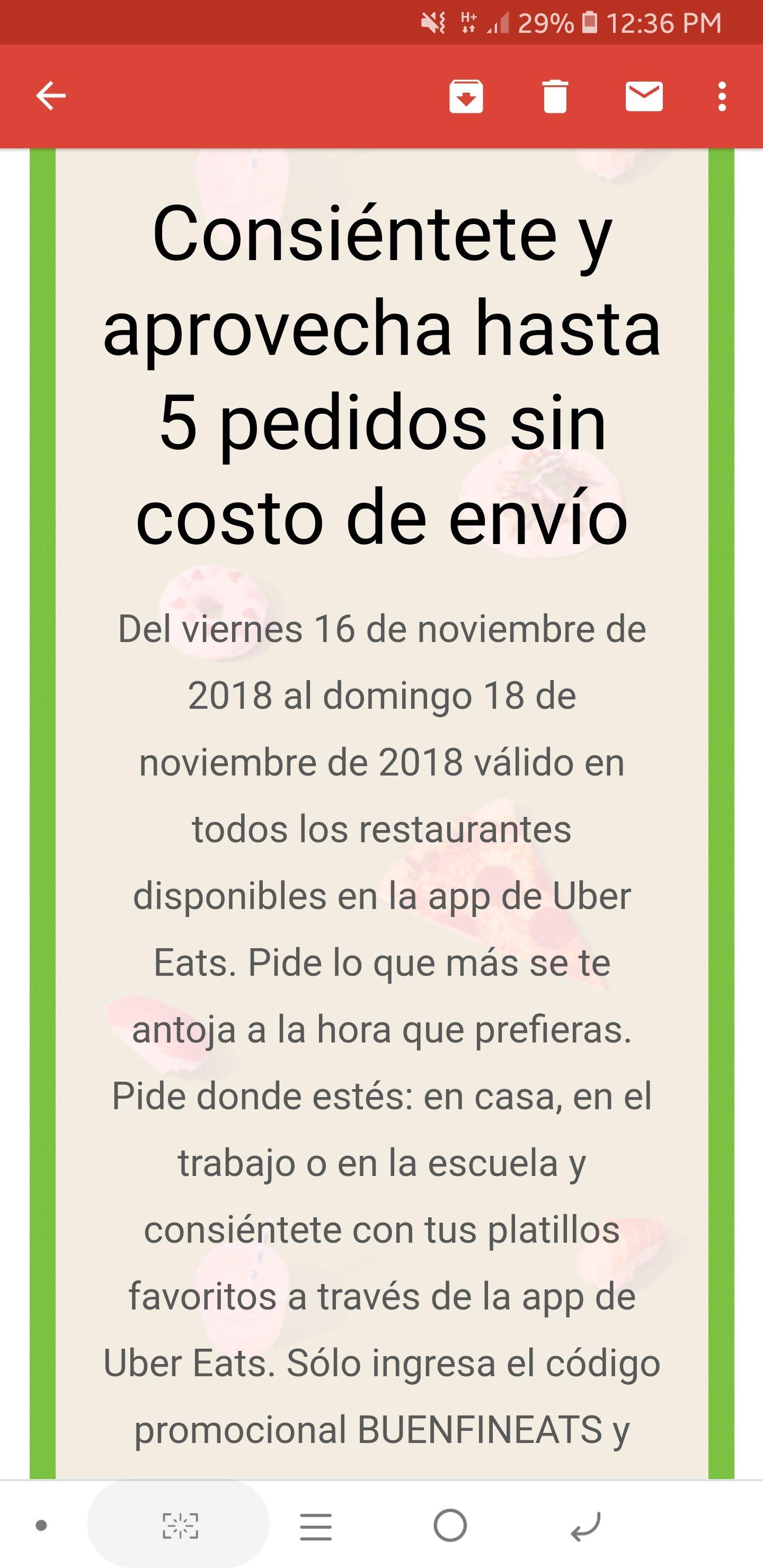 Ofertas Buen Fin 2018 Uber Eats: 5 envíos gratis