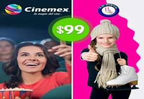 Pontebuso: 2 boletos para Cinemex y 2 entradas para La Pista de hielo $99 (DF)