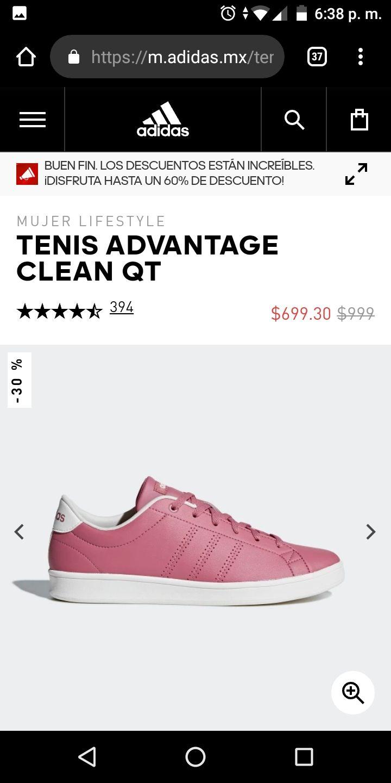 Ofertas Buen Fin 2018 Adidas: Tenis Avantage Clean