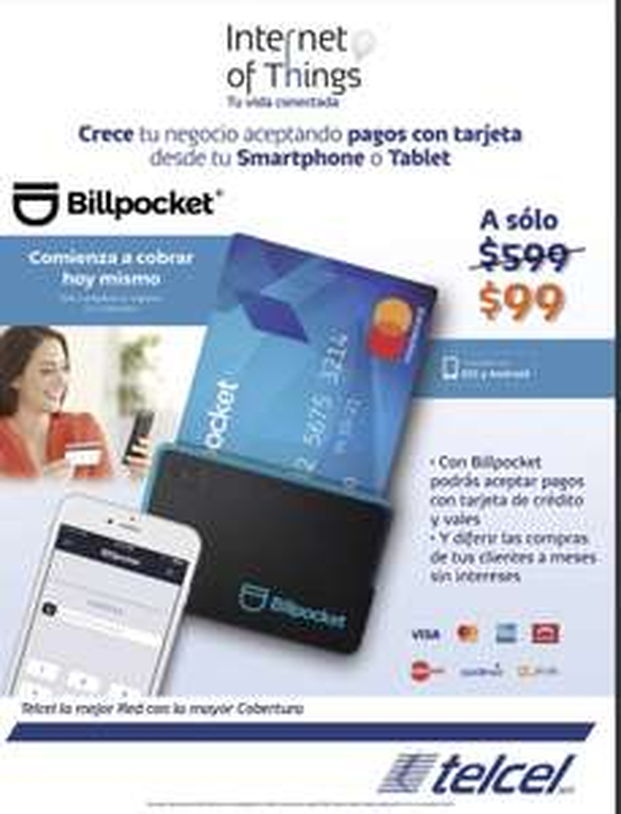 Telcel: Billpocket Lector de tarjetas TC y débito $99