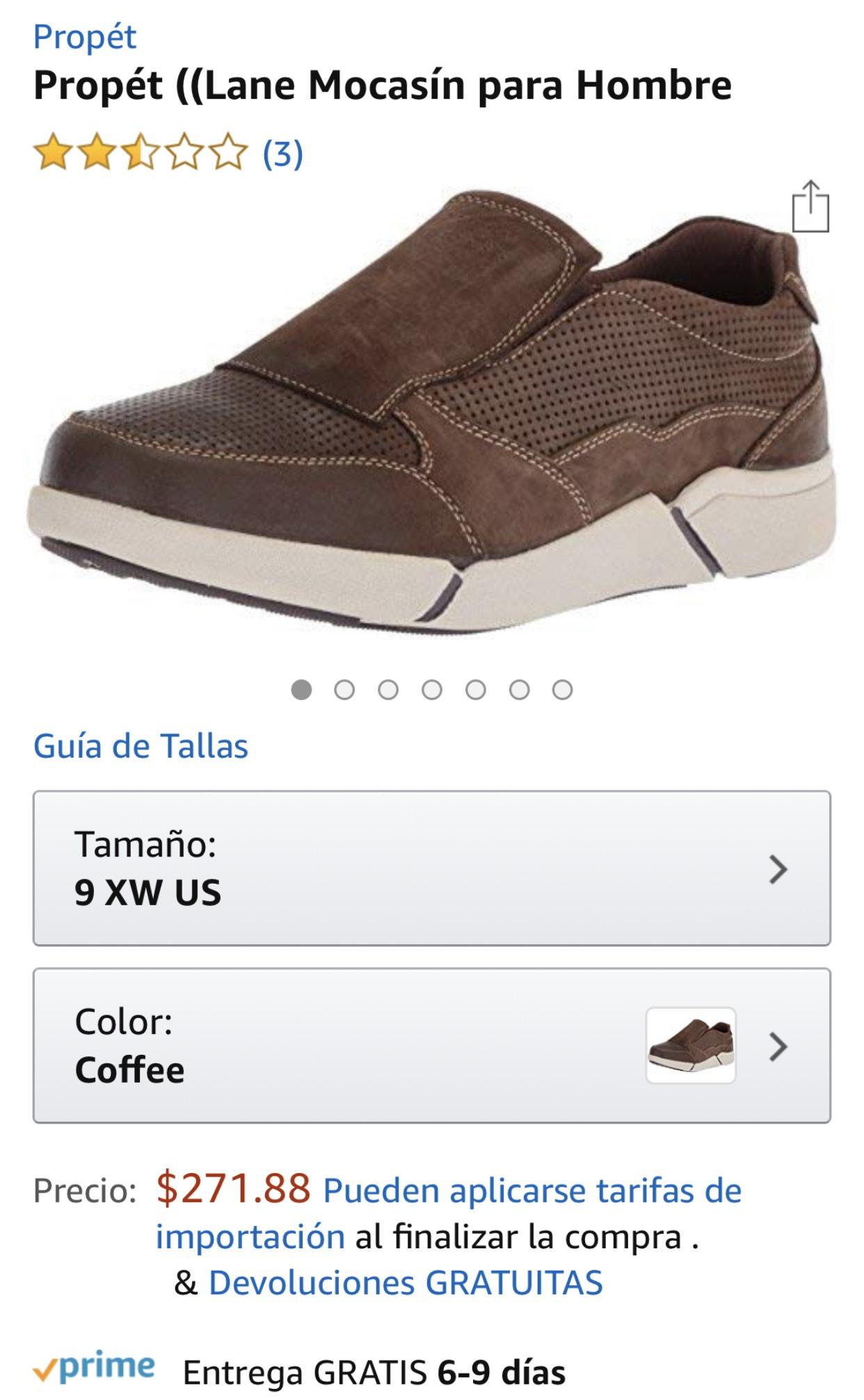 Amazon: zapato de piel talla 7 Aplica Prime