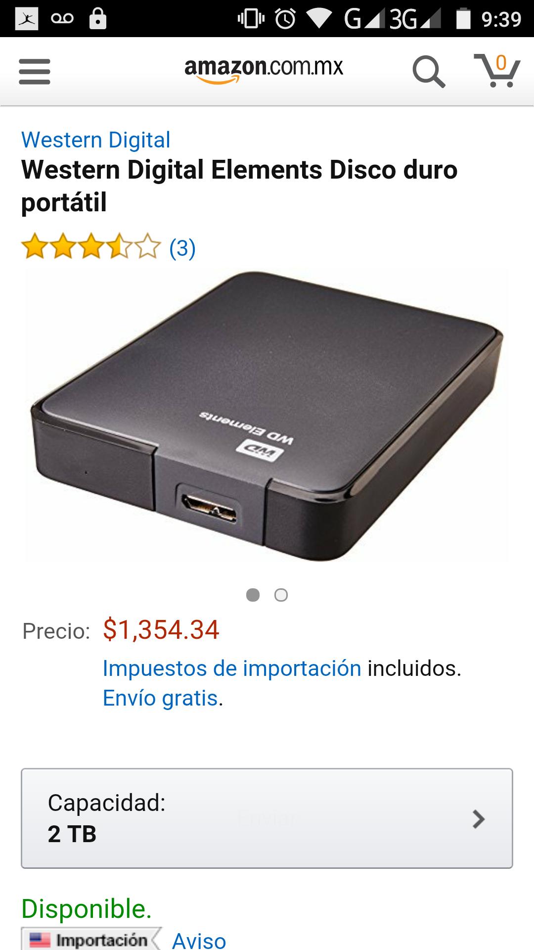 Amazon: Disco duro 2tb western digital elementos USB 3.0