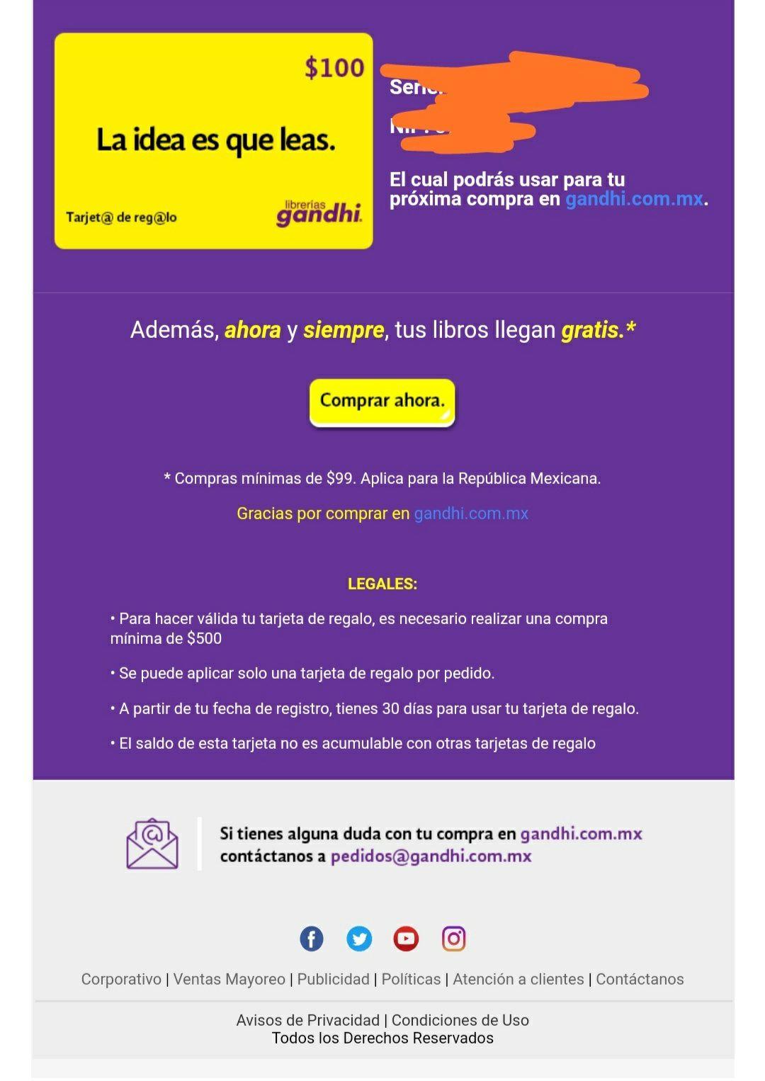 Ofertas Buen Fin 2018 Librerías Gandhi: Tarjeta regalo de 100, en compra mínima de $500