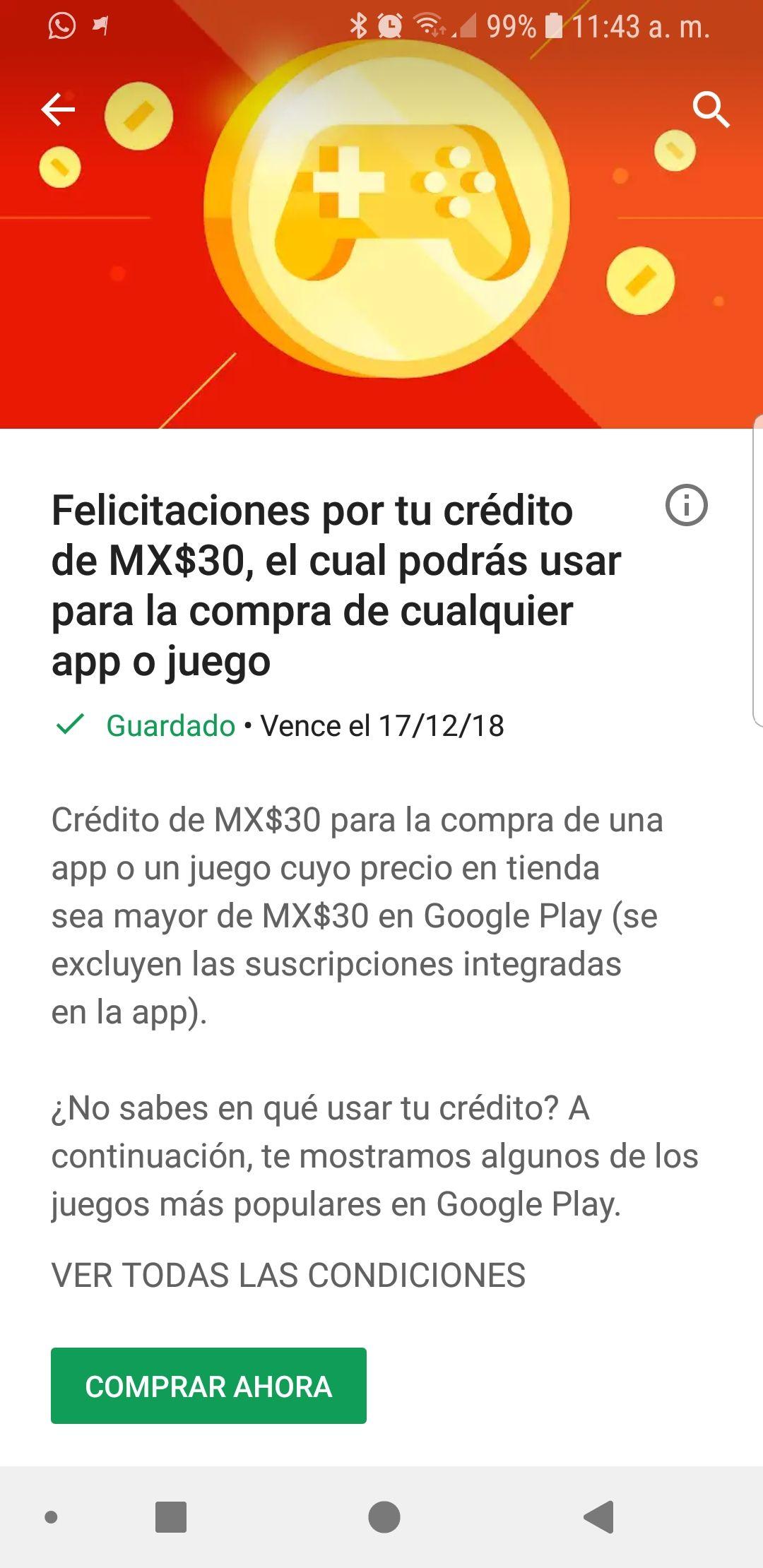 Google Play: 30 pesos en la play store para juego