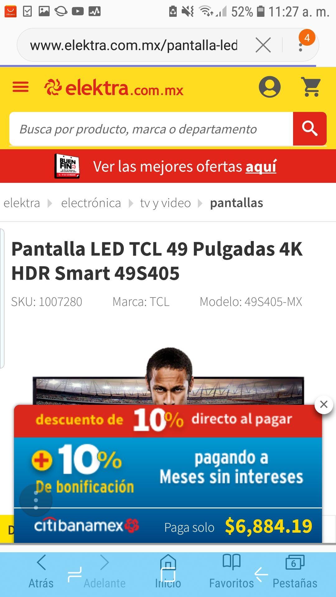 Buen Fin 2018 en Elektra: Pantalla LED TCL 49 '' 4K HDR Smart 49S405 Pagando con Citibanamex