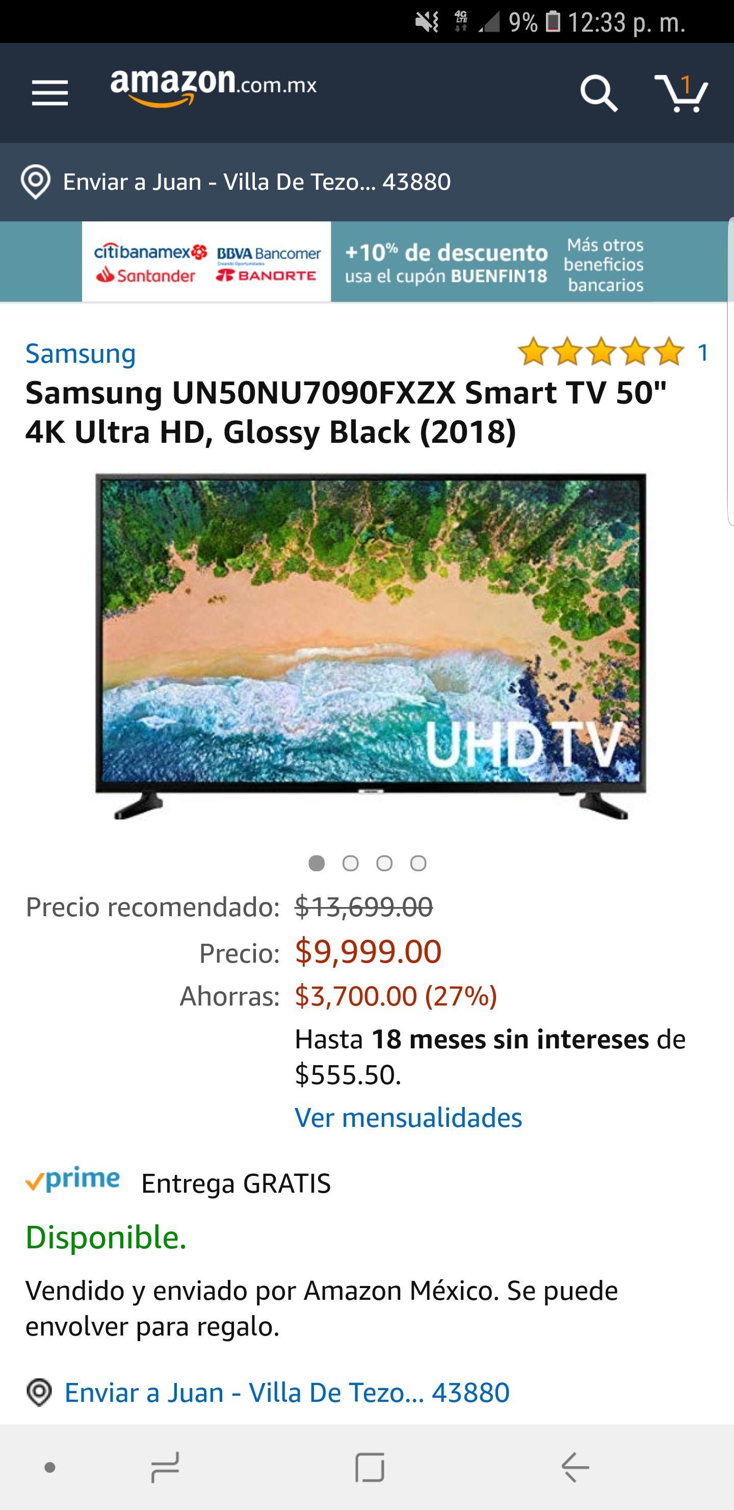 Amazon: Pantalla Samsung 50'' 4k (Pagando con tarjetas participantes)