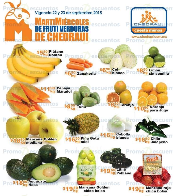 Martimiércoles de Chedraui 22 y 23 de septiembre (ofertas en frutas, verduras, cerelaes, atún y más)