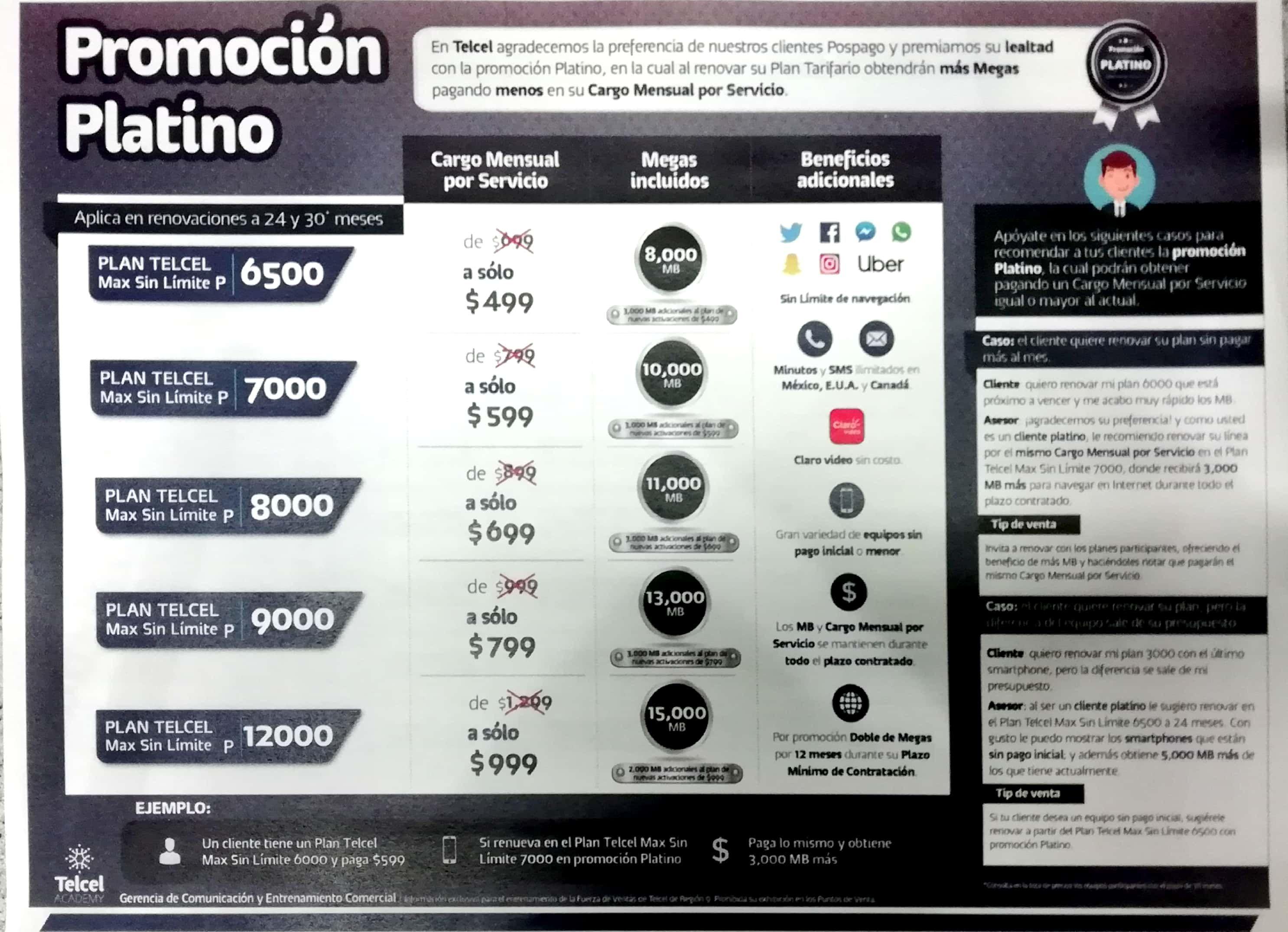 Telcel: Nuevos planes Platinum de promoción por renovación y descuento por historial en equipos.