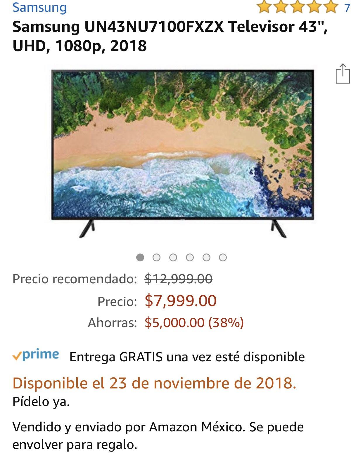 "Amazon: Samsung Televisor 43"" UHD 4k 2018 con Banamex"